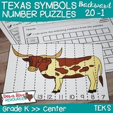 Texas Our Texas: Kindergarten Counting Backward Number Puzzles English & Spanish