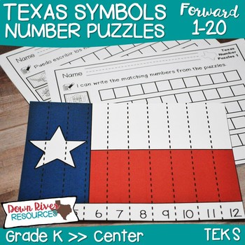 Texas Our Texas: Kindergarten Counting Forward Number Puzzles English & Spanish