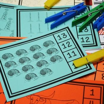 Texas Our Texas Math Center: Kindergarten Clip Cards 1-20 (English and Spanish)