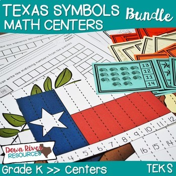 Texas Our Texas Math Centers: Kindergarten Math TEKS Bundle (English & Spanish)