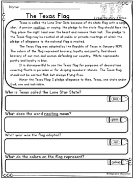 Texas Our Texas Rainbow Comprehension for Young Students