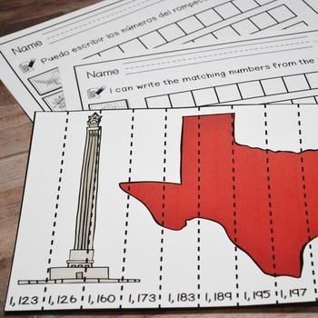 Texas Our Texas: Second Grade Number Puzzles up to 1,200 (English & Spanish)