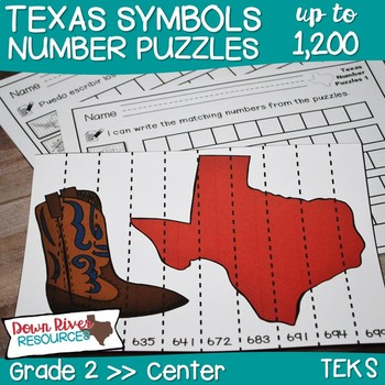 Texas Our Texas: Second Grade Number Puzzles up to 1,200 (