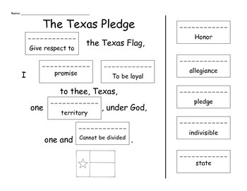 Texas Pledge Cut and Paste
