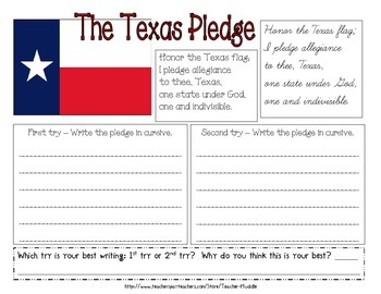 Texas Pledge - Handwriting/Cursive Practice