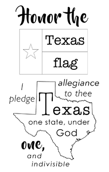 graphic regarding Texas Pledge Printable identified as Texas Pledge Of Allegiance Worksheets Coaching Materials TpT
