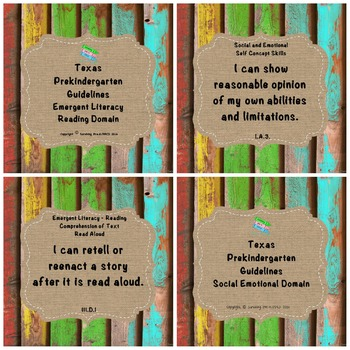 "Texas Pre-K 2016 ""I Can"" Statements: Upcycled Bright Wood, Burlap"