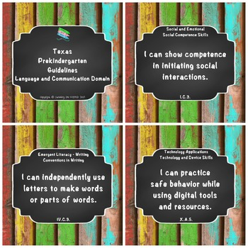 "Texas Pre-K 2016 ""I Can"" Statements: Upcycled Bright Wood & Chalkboard"