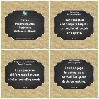 """Texas Pre-K 2016 """"I Can"""" Statements: Upcycled Burlap and Chalk board"""