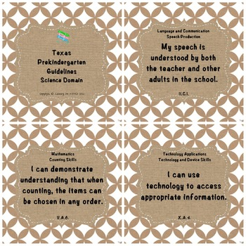 """Texas Pre-K 2016 """"I Can"""" Statements: Upcycled Kraft Paper & Shabby Chic Burlap"""