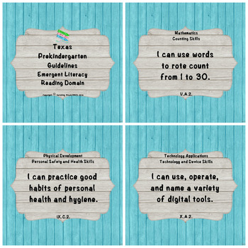 "Texas Pre-K 2016 ""I Can"" Statements: Upcycled Light Blue Wood & White Wood"