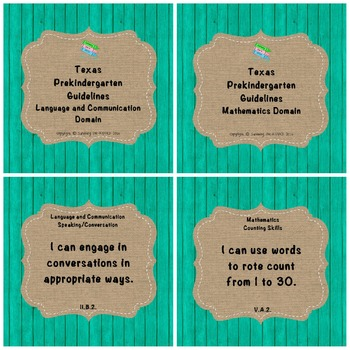"Texas Pre-K 2016 ""I Can"" Statements: Upcycled Turquoise Wo"