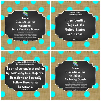 "*Updated* Texas Pre-K Guidelines ""I Can"" Statements: Burlap, Brights, Polka Dots"