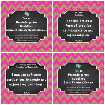 "*Updated* Texas Pre-K ""I Can"" Statements: Burlap, Bright Pink Chevron"