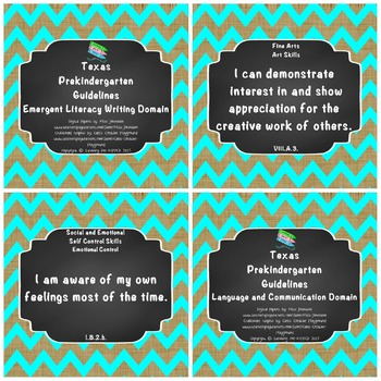 """*Updated* Texas Pre-K """"I Can"""" Statements Bundle: Burlap, Turquoise Chevron"""