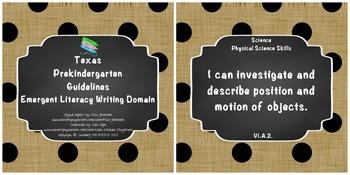 "*Updated* Texas Pre-K ""I Can"" Statements: Burlap, Chalkboard, Black Polka Dots"