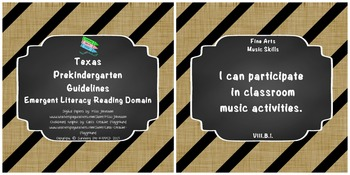 "*Updated* Texas Pre-K ""I Can"" Statements: Burlap, Chalkboard, Black Stripe"
