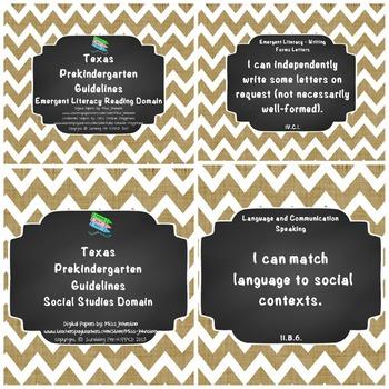"*Updated* Texas Pre-K ""I Can"" Statements: Burlap, Chalkboard, White Chevron"