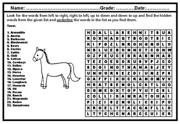 Texas Puzzle, Word Search Puzzle Worksheet, NoPrep SubPlan, fun research project