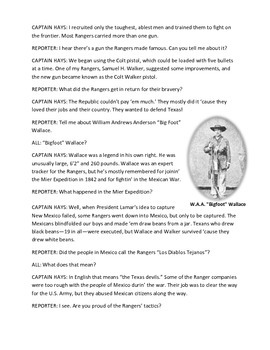 Texas Rangers: Texas History Readers Theater