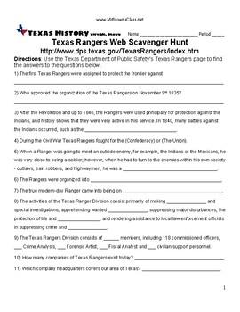 Texas Rangers Web Scavenger Hunt Unit 07 Republic and Early Statehood