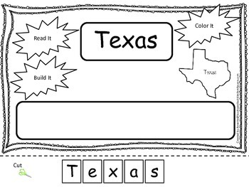Texas Read it, Build it, Color it Learn the States preschool worksheet.