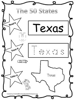 Texas Read it, Trace it, Color it Learn the States preschool worksheeet