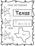 Texas Read it, Trace it, Color it Learn the States prescho
