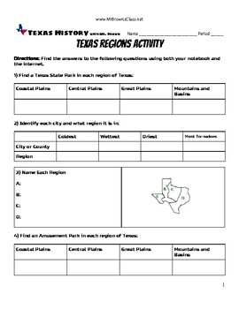 Texas Regions Activity Unit 01 Natural Texas and Its People