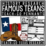 Texas Research Activity [Sam Houston, David Crockett & More] Teach- Go Pennants™