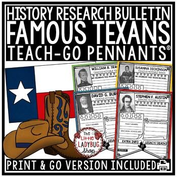 Texas Research Activity [Sam Houston, David Crockett & More] Teach- Go Pennants™