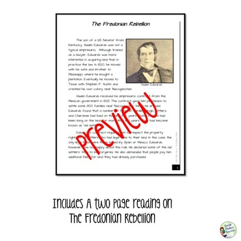 Texas Revolution Fredonian Rebellion Writing Activity
