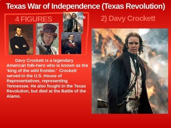 Texas Revolution - 4 causes, 4 figures, 4 events, 4 effects (23-slide PPT)