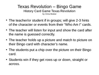 Texas Revolution Bingo Cards Pt 2