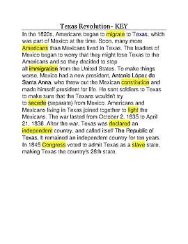 Texas Revolution --  CLOZE Reading