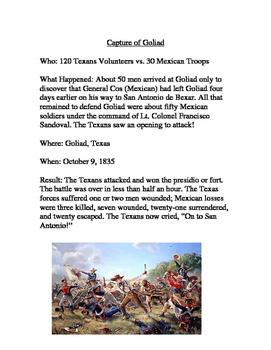 Texas Revolution-Early Battles Readings and Task Cards for Stations