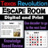 Texas Revolution Escape Room Social Studies: Events, Heroes, Battles (The Alamo)