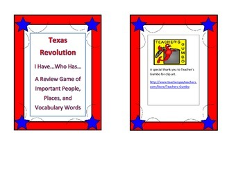 Texas Revolution I Have...Who Has...Cards