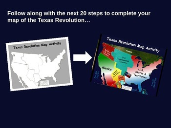 Texas Revolution Map Activity: Fun, engaging follow-along 25-slide PPT