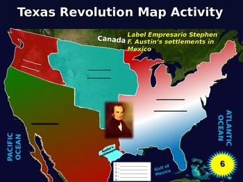 Texas Revolution Map Activity: Fun, engaging follow-along