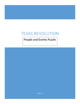 Texas Revolution People and Events Puzzle