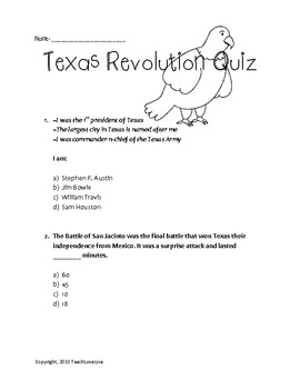 Texas Revolution Quiz