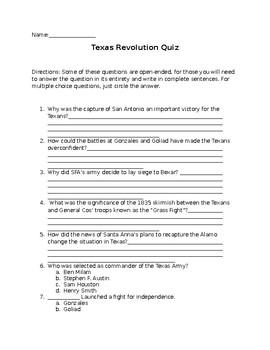 Texas Revolution Quiz