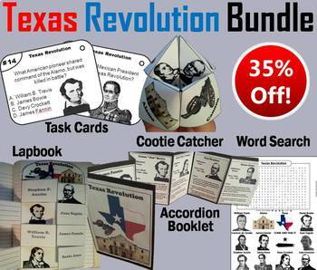 Texas Revolution Task Cards and Activities Bundle