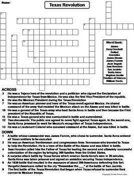 Texas Revolution Worksheet/ Crossword Puzzle