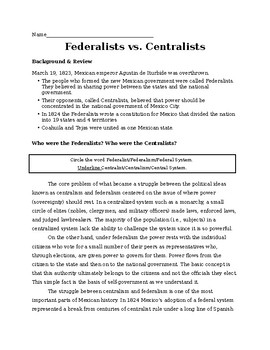 Texas Revolution and Mexican Constitution: Federalists or Centralists?