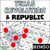 Texas Revolution and Republic Review Bingo