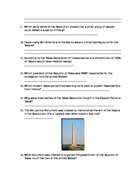 Texas Revolution and Republic Test Review