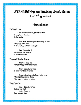 Texas STAAR Editing and Revising Study Guide 4th grade