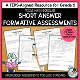 Texas STAAR Math Scholar: Open-Ended Formative Assessments